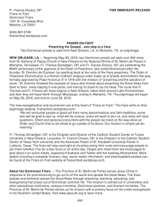 Friars on Foot Press Release